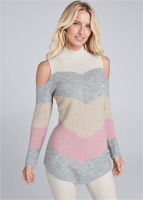 Striped Cold Shoulder Sweater,Mid Rise Color Skinny Jeans,Fringe Bucket Bag