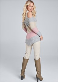 Back View Striped Cold Shoulder Sweater