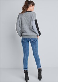 Full back view Color Blocked Sweater