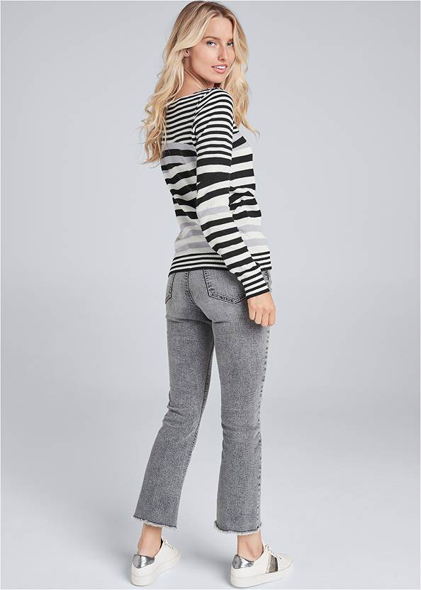 Back View Striped Crew Neck Sweater
