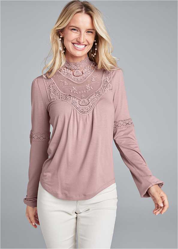 Lace Detail Top,Mid Rise Color Skinny Jeans,Naked T-Shirt Bra