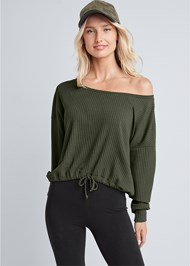 Cropped Front View Rib Knit Drawstring Lounge Top