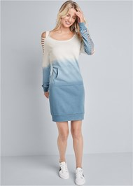 Front View Ombre Slash Sleeve Lounge Dress