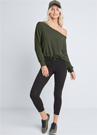 Full Front View Rib Knit Drawstring Lounge Top