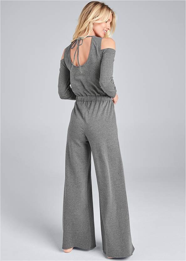 Full back view Cold Shoulder Wide Leg Jumpsuit