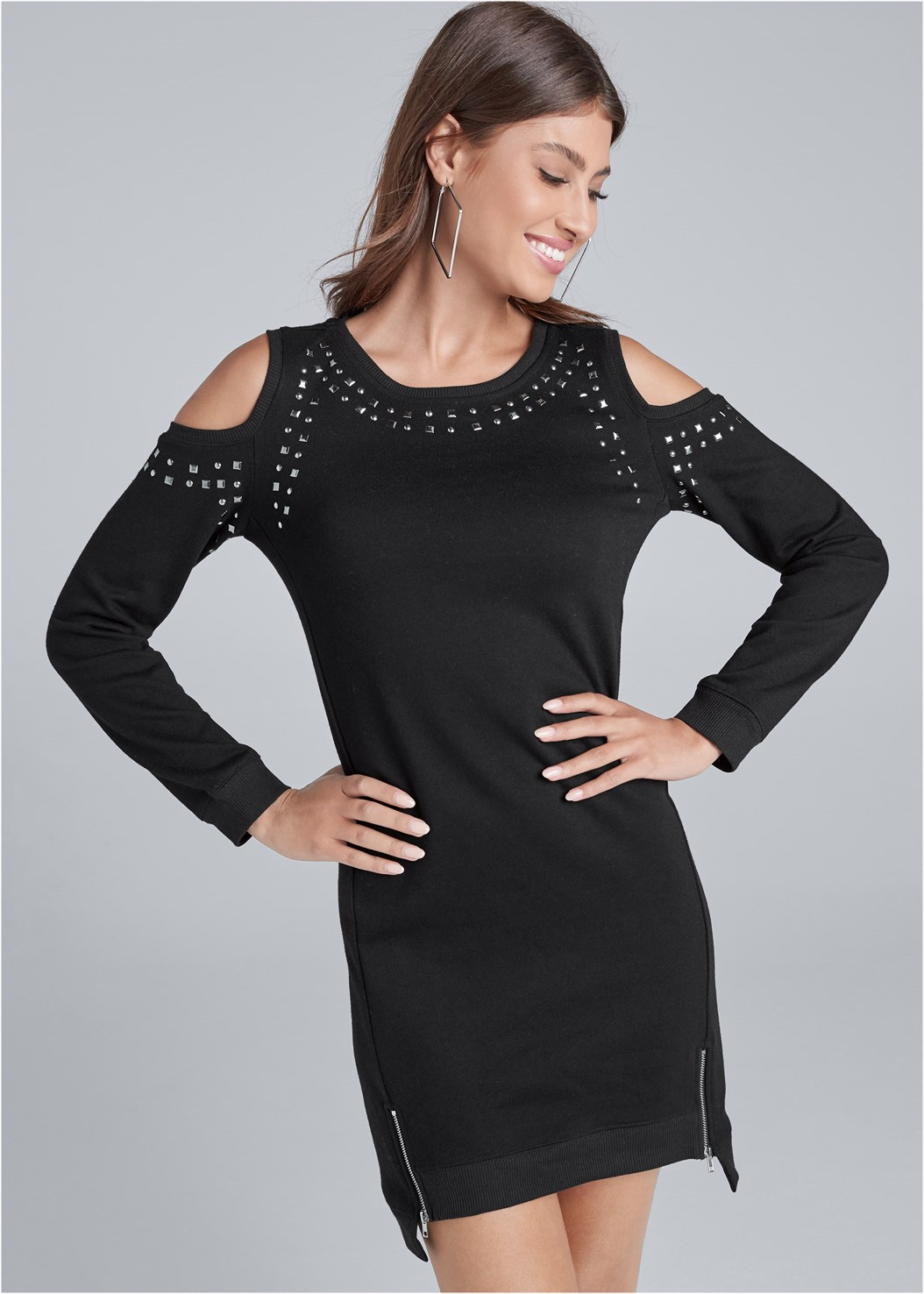 Studded Cold Shoulder Lounge Dress,Peep Toe Booties,Square Hoop Earrings
