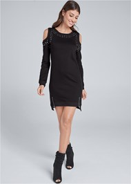Alternate View Studded Cold Shoulder Lounge Dress