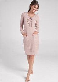 Front View Cozy Hacci Lace Up Sweatshirt Dress