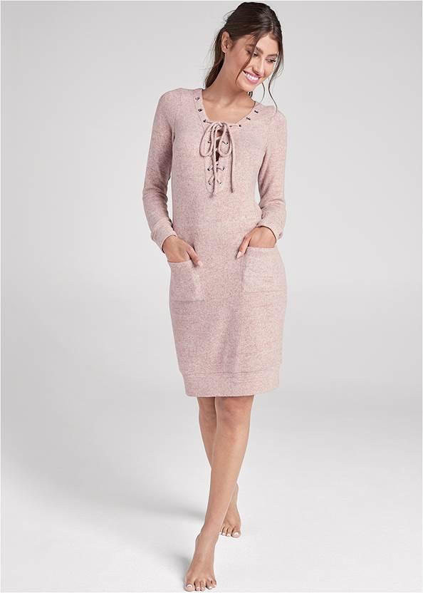Front View Cozy Hacci Lace Up Sweatshirt Dress