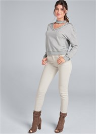 Full front view Studded Lounge Sweatshirt