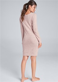Back View Cozy Hacci Lace Up Sweatshirt Dress