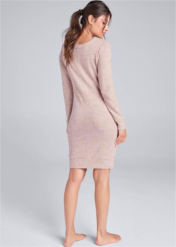 Back View Cozy Hacci Lace Up Sweatshirt Dress