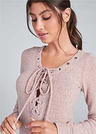 Alternate View Cozy Hacci Lace Up Sweatshirt Dress