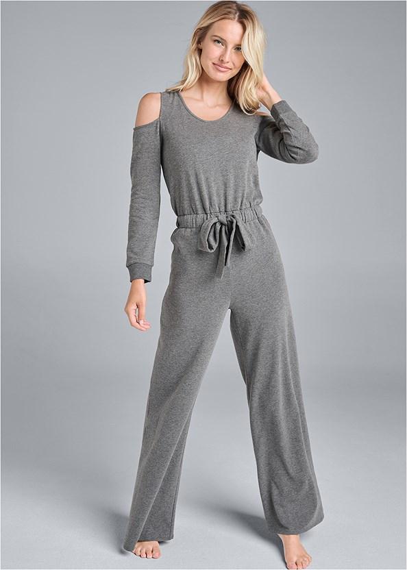 Cold Shoulder Wide Leg Jumpsuit,Sleeveless Sleep Robe,Embellished Slides