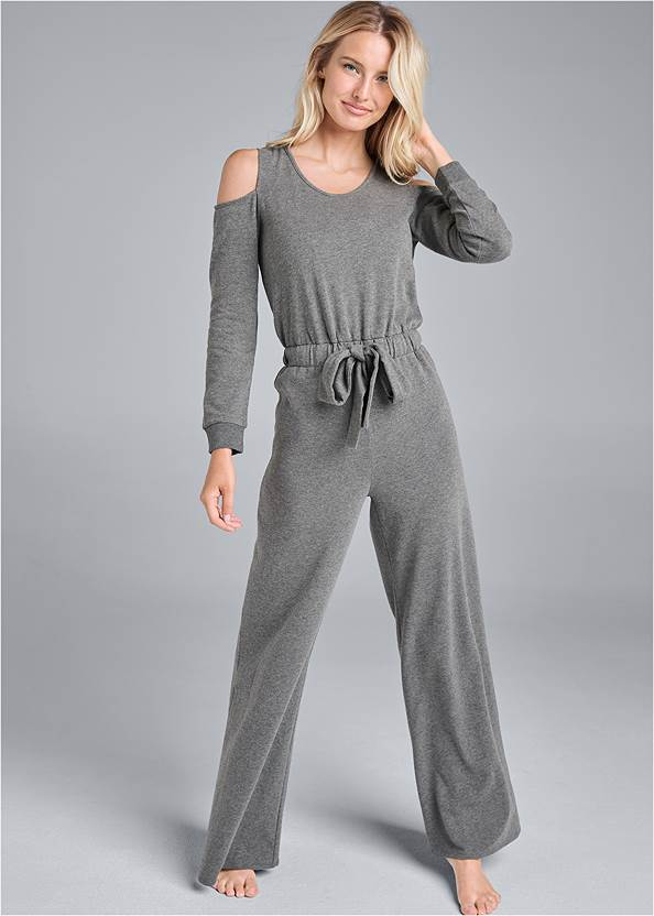 Cold Shoulder Wide Leg Jumpsuit,Sleeveless Sleep Robe,Rhinestone Net Sneakers,Etched Boho Hoop Earrings,Studded Faux Leather Tote