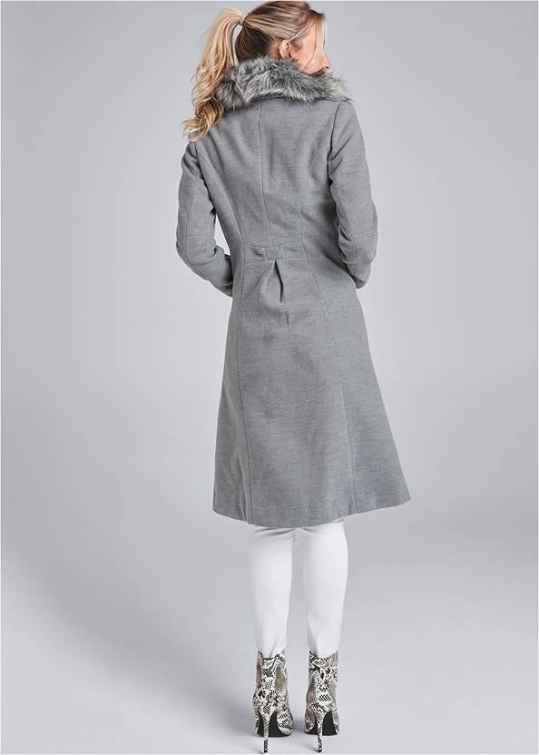 Back View Faux Fur Trim Coat