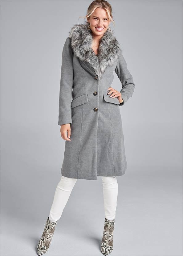 Faux Fur Trim Coat,Bum Lifter Jeans,Circle Detail Booties,Mixed Earring Set