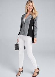 Full front view High Low Houndstooth Blazer