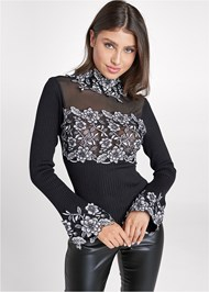 Front View Floral Applique Sweater
