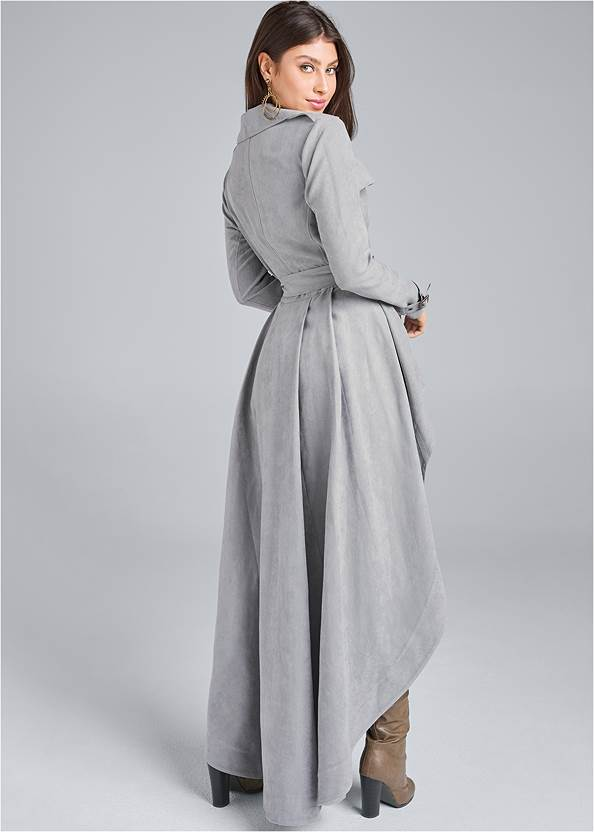 Full back view Faux Suede Trench Coat