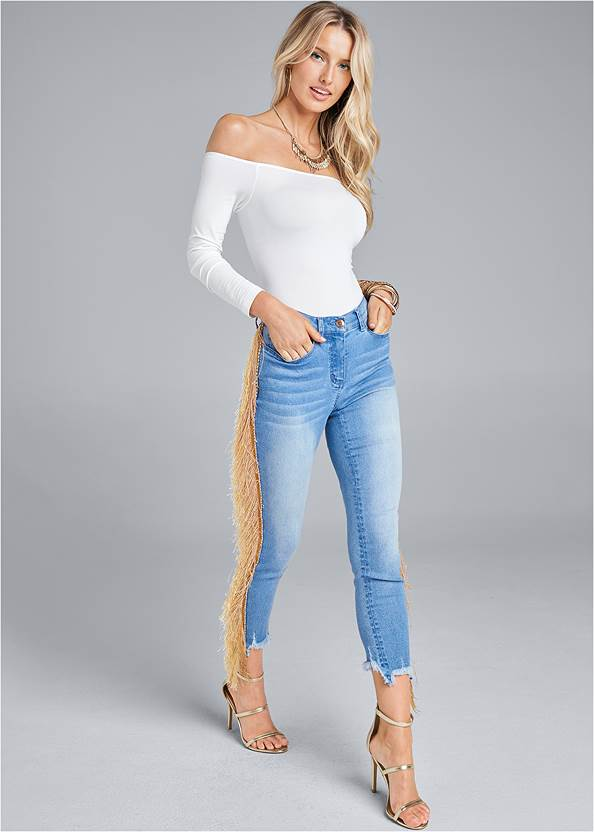 Front View Cropped Fringe Trim Jeans