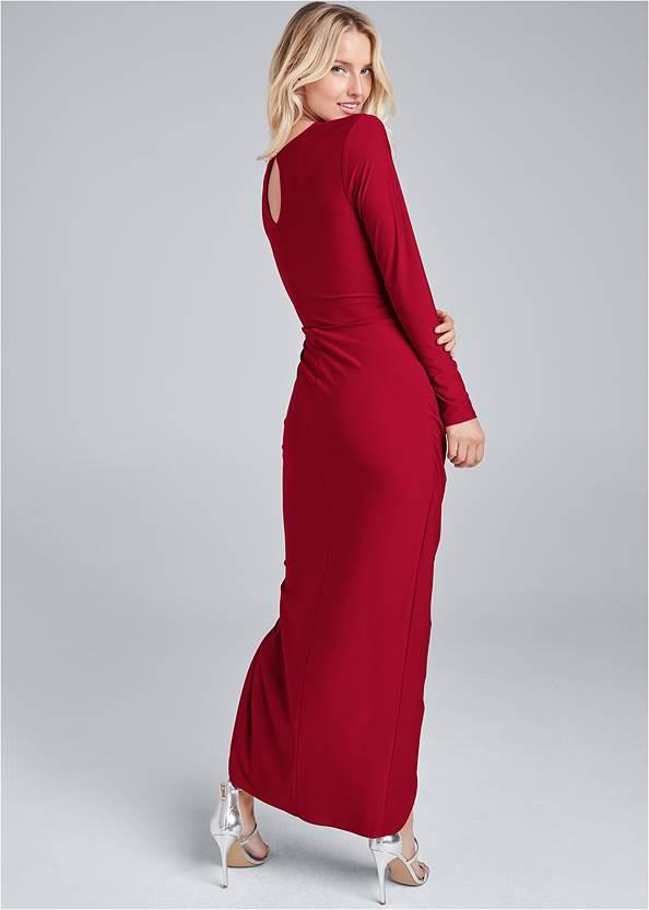 Back View Drape Front Long Dress