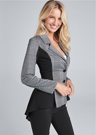 Cropped front view High Low Houndstooth Blazer