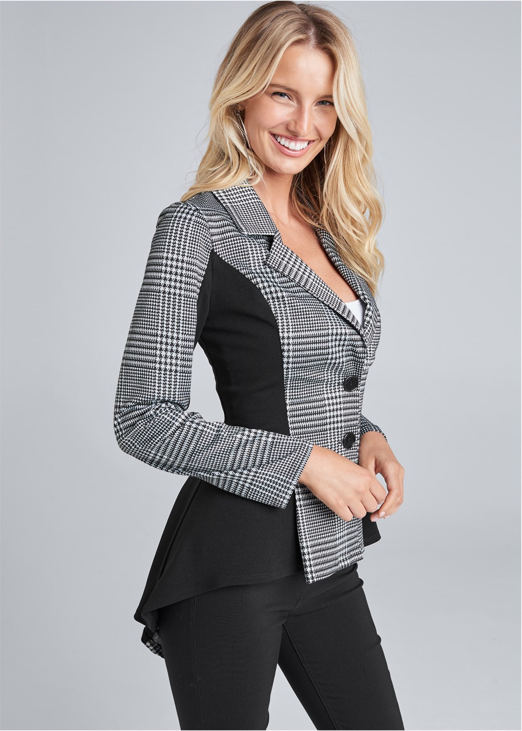 High Low Houndstooth Blazer,Lace Cami,Kissable Convertible Bra,Mid Rise Slimming Stretch Jeggings,High Heel Strappy Sandals,Mix Metal Link Earrings,Studded Handbag,Hoop Detail Earrings,Basic Cami Two Pack