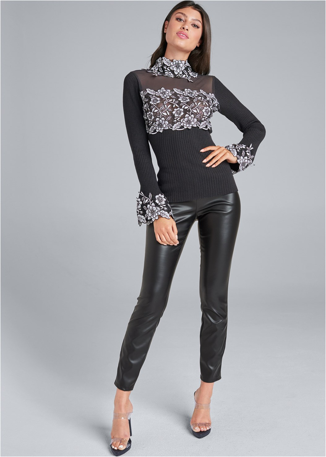 Faux Leather Leggings,Floral Applique Sweater,Basic Cami Two Pack,Lace Detail Tank,Jean Jacket,Faux Leather Lace Up Jacket,Lucite Strap Heels,High Heel Strappy Sandals,Cut Out Detail Boots