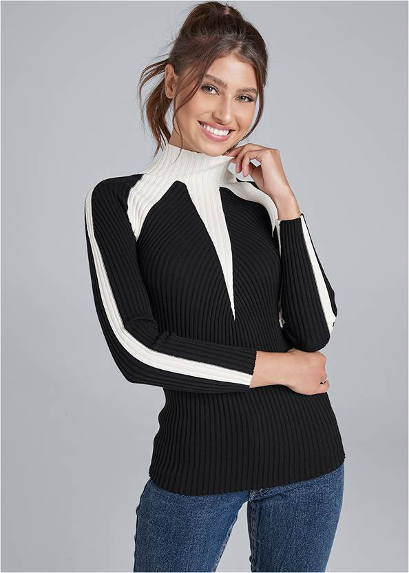 Two Tone Mock Neck Sweater,Mid Rise Color Skinny Jeans,Kissable Convertible Bra