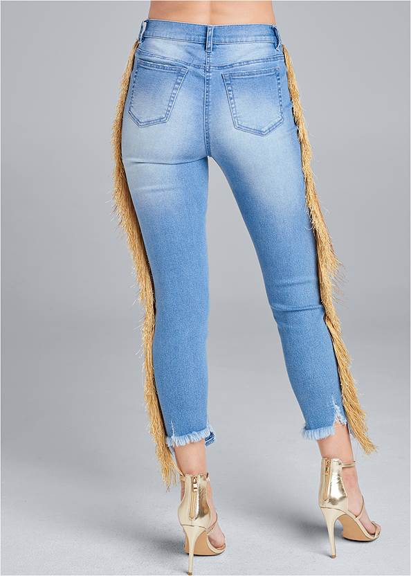 Waist down back view Cropped Fringe Trim Jeans
