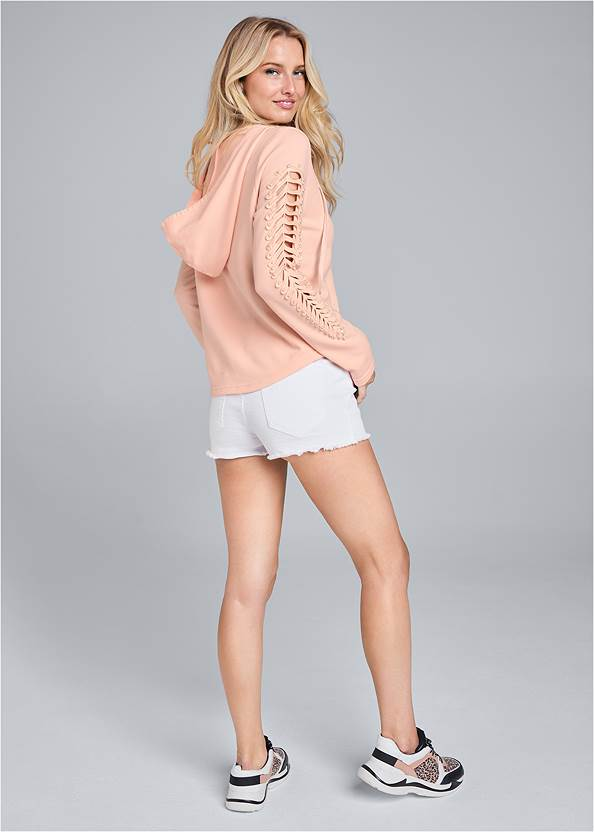Back View Cut Out Sleeve Sweatshirt With Pearls