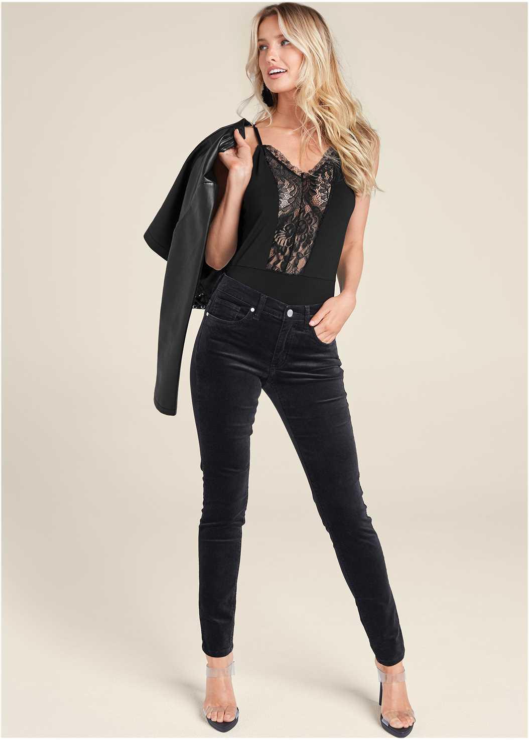 Velvet Pants,Lucite Strap Heels,Beaded Tassel Earrings