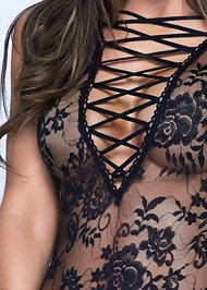 Alternate View Sheer Lace-Up Bodysuit