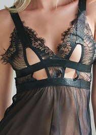 Detail front view Mesh Babydoll And Panty Set