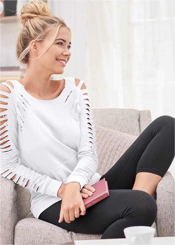 Slash Detail Sweatshirt,Mid Rise Color Skinny Jeans,Frayed Cut Off Jean Shorts