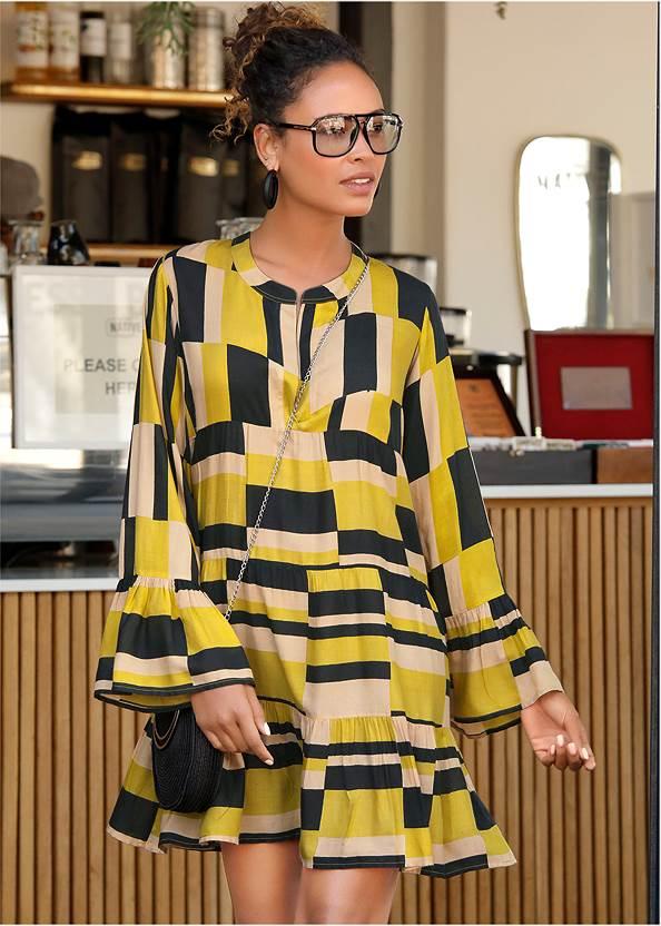 Geometrical Printed Dress,Tassel Hoop Earrings