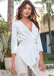 Cropped Front View Belt Detail Pleated Top