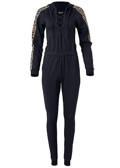 Plus Size Animal Stripe Lace Up Jumpsuit