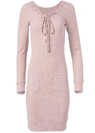 Alternate View Cozy Hacci Lace Up Sweatshirt Dress