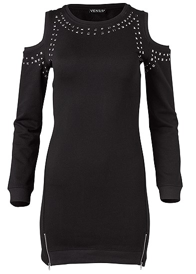 Plus Size Studded Cold Shoulder Lounge Dress