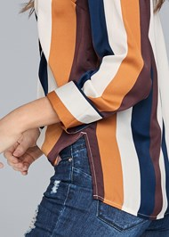 Cropped Back View Striped Blouse
