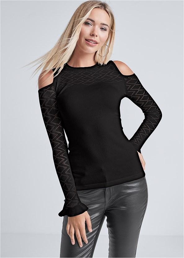 Pointelle Stitch Sweater,Faux Leather Pants,Everyday You Lace Back Bra,Buckle Detail Booties,Slouchy Mid-Calf Boot,Hoop Detail Earrings