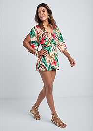 Full front view Palm Print Open Back Romper