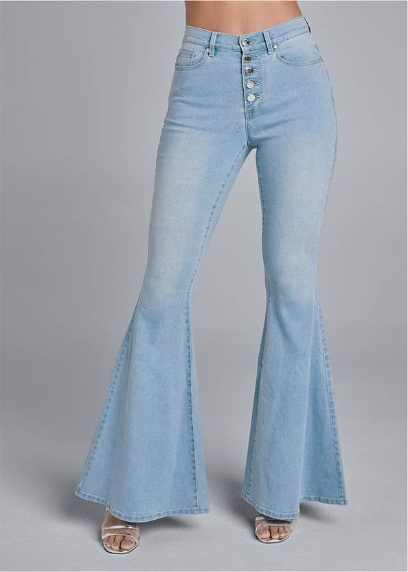 Front View High Rise Button Fly Flare Jeans