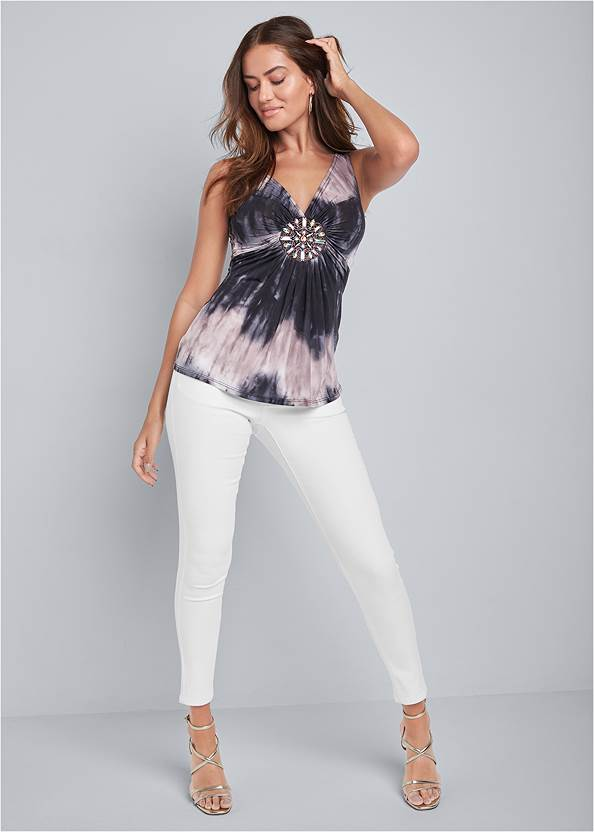 Full front view Tie Dye Embellished Top