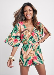 Front View Palm Print Open Back Romper
