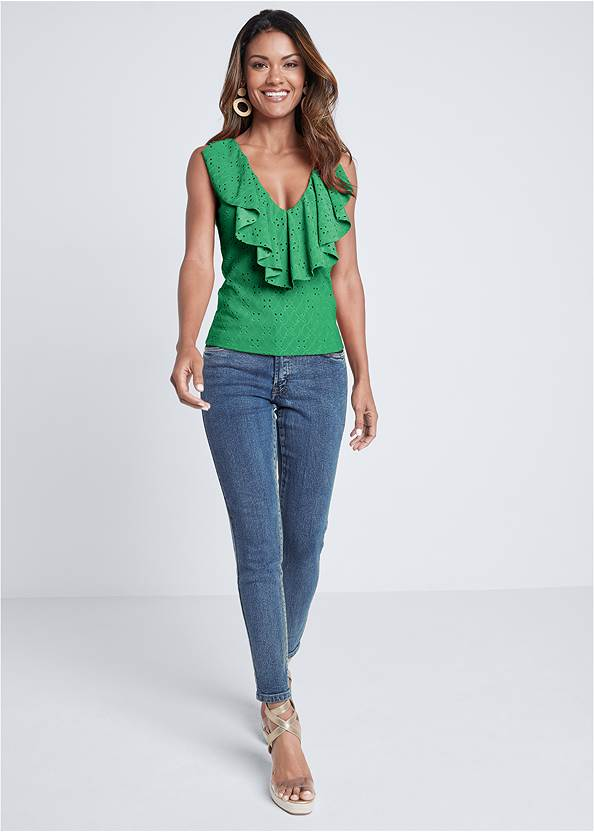 Full front view Ruffle Eyelet Top