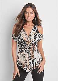 Front View Animal Print Top