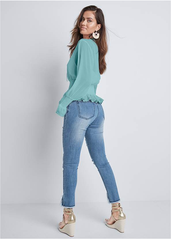 Back View Smocked Lace Up Blouse